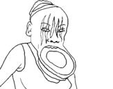 Dibujo de Mujer con el labio dilatado para colorear