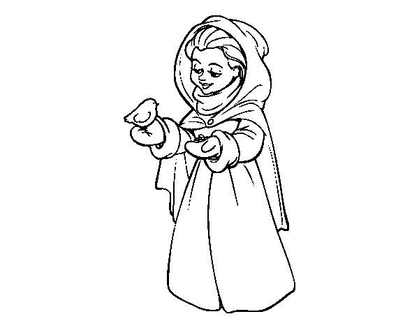 Imagen De Una Silueta De Una Mujer Para Colorear: Dibujo De Mujer Con Pájaro En Invierno Para Colorear