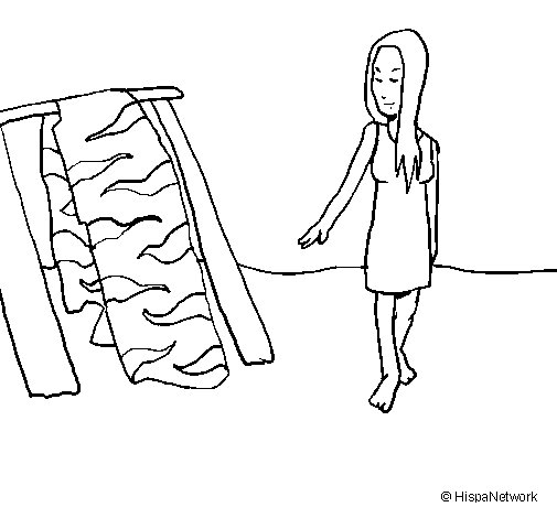 Dibujo de Mujer secando la piel para Colorear
