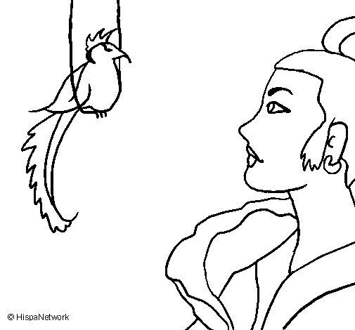 Dibujo de Mujer y pájaro para Colorear