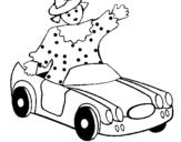 Dibujo de Muñeca en coche descapotable para colorear