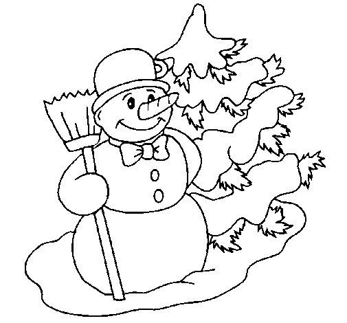 Dibujo de mu eco de nieve y rbol navide o para colorear - Munecos de nieve para dibujar ...