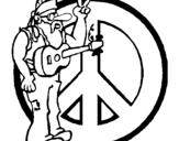 Dibujo de Músico hippy para colorear