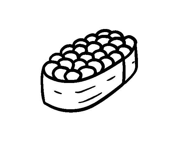 Dibujo de Niguiri de huevos de salmón para Colorear