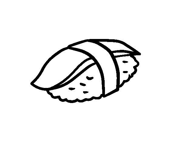 Dibujo de Niguiri de sepia para Colorear