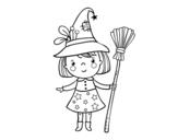 Dibujo de Niña bruja de Halloween para colorear