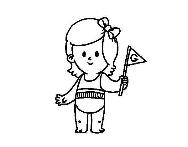 Dibujo De Niña Con Banderín Para Colorear