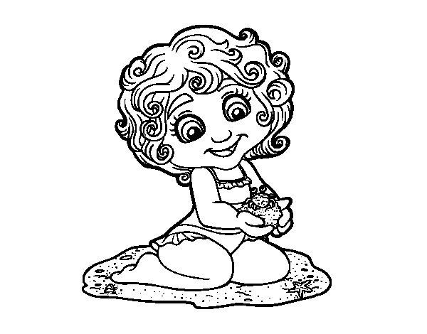 Dibujo de Niña con cangrejo para Colorear