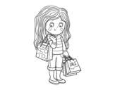 Dibujo de Niña con compras de verano para colorear