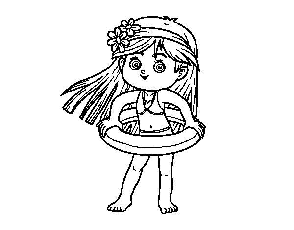 Dibujo de Niña con flotador para Colorear