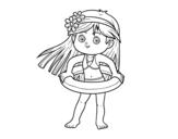 Dibujo de Niña con flotador