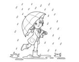 Dibujo de Niña con paraguas bajo la lluvia para colorear