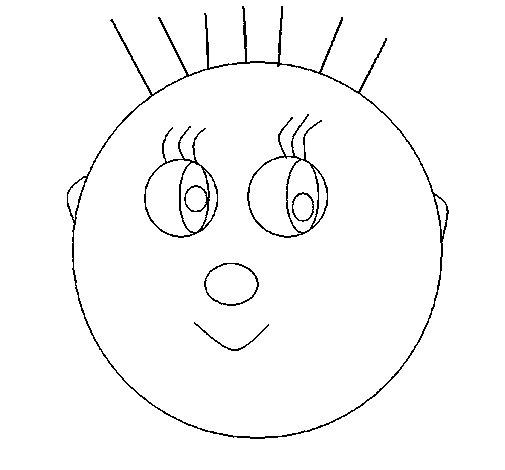 Dibujo de Niña con pelos para Colorear