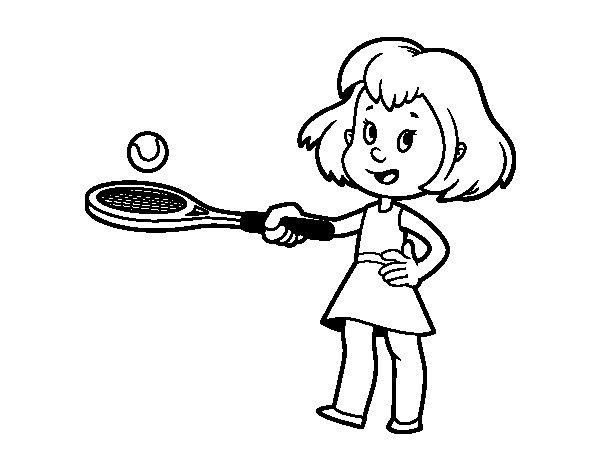Dibujo de Niña con raqueta para Colorear - Dibujos.net