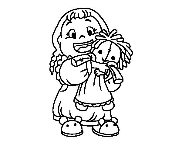 Dibujo de Niña con su muñeca para Colorear - Dibujos.net