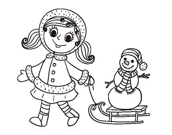 Dibujo de Niña con trineo y muñeco de nieve para Colorear