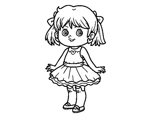 Dibujo de Niña con vestido moderno para Colorear