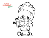 Dibujo de Niña disfrazada Kawaii para colorear