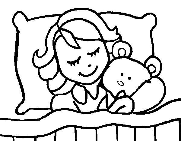 Dibujo de Niña durmiendo para Colorear