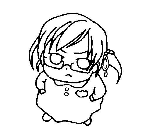 Dibujo de Niña enfadada para Colorear