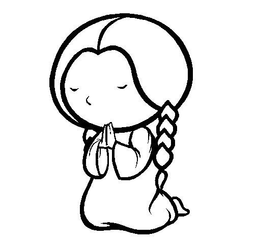 Dibujo de Niña rezando para Colorear