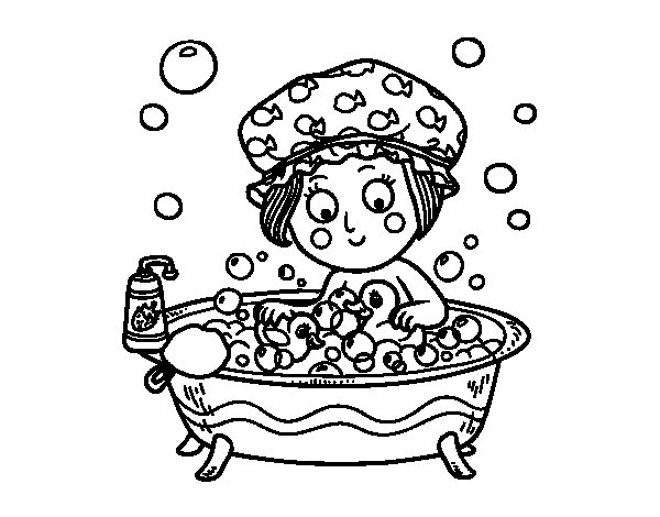 Cancion Infantil Baño De Burbujas:Taking a Bath Coloring Pages