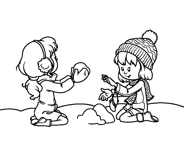 Colorear Para Niñas: Dibujo De Niñas Jugando Con La Nieve Para Colorear