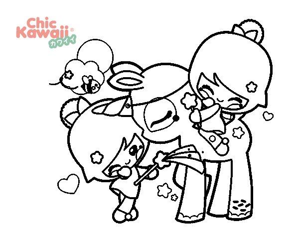 Dibujo Para Colorear De Niñas: Dibujo De Niñas Y Unicornio Kawaii Para Colorear