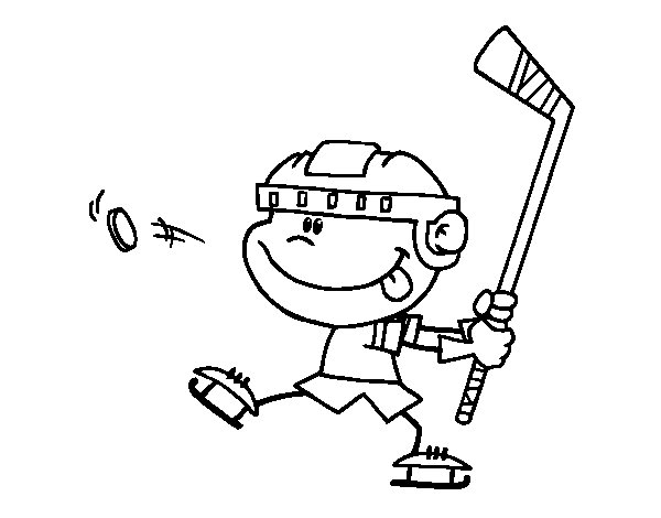 Dibujo de Niño aprendiendo a jugar a hockey para Colorear