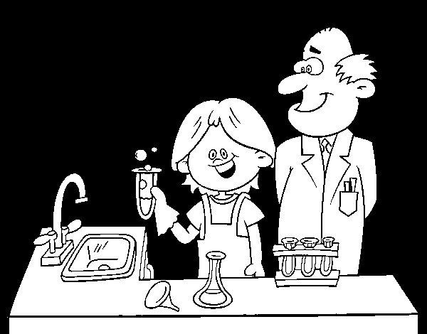 Dibujo de Niño con experimento para Colorear