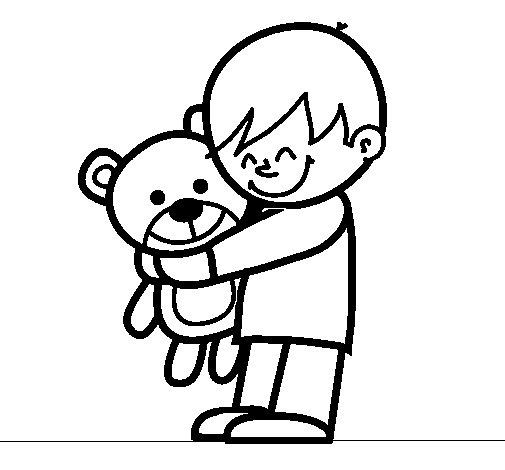 Dibujo de Niño con peluche para Colorear - Dibujos.net