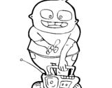 Dibujo de Niño con radio cassette para colorear