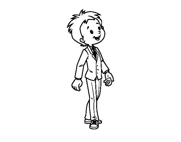 Dibujo De Niño Con Traje Para Colorear