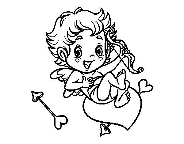 Dibujos De Cupido Con Corazones Para Pintar Colorear Imágenes