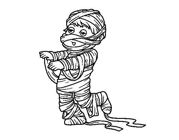 Dibujo de Niño disfrazado de momia para Colorear