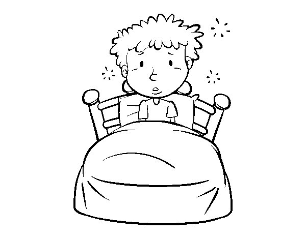 Dibujo de Niño en la cama para Colorear - Dibujos.net
