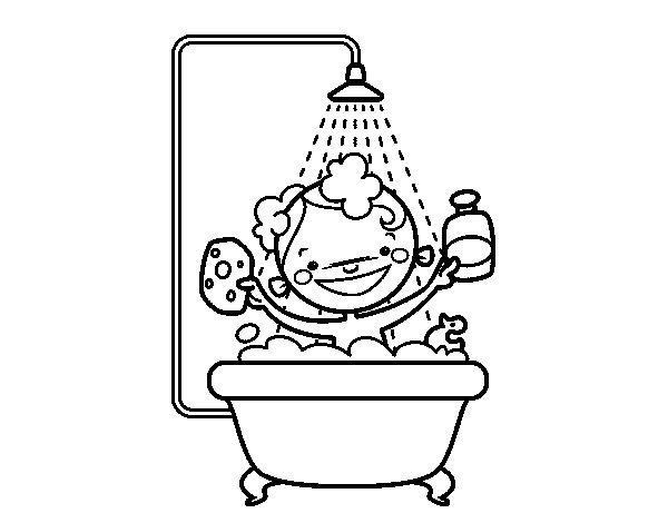 Baño De Regadera En Ninos:Dibujo de Niño en la ducha para Colorear – Dibujosnet