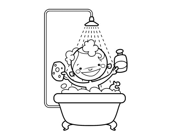 Baño De Regadera Cancion Infantil:Bathroom Shower Coloring Pages