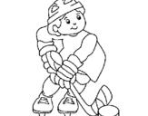 Dibujo de Niño jugando a hockey para colorear