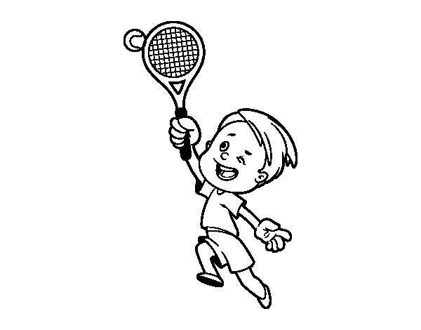 Dibujo de Niño jugando a tenis para Colorear - Dibujos.net