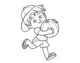 Dibujo de Niño jugando con balón de playa