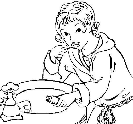 Dibujo de Niño lavándose los dientes para Colorear