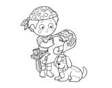 Dibujo de Niño pirata con su perro para colorear