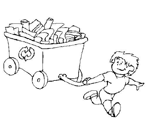 Dibujo de Niño reciclando para Colorear