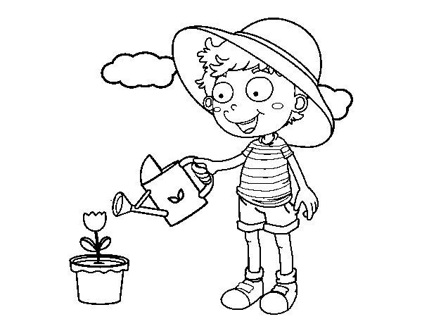 Dibujo de Niño regando para Colorear - Dibujos.net