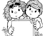 Dibujo de Niños con libros
