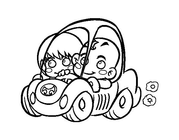 Dibujo de Niños conduciendo para Colorear - Dibujos.net