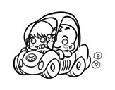 Dibujo de Niños conduciendo para colorear