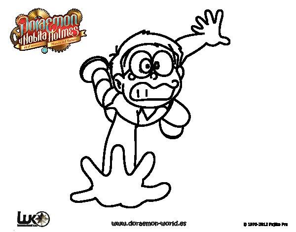 Dibujos Para Colorear E Imprimir De Doraemon: Dibujo De Nobita Cayéndose Para Colorear