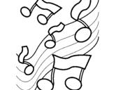 Dibujo de Notas en la escala musical para colorear